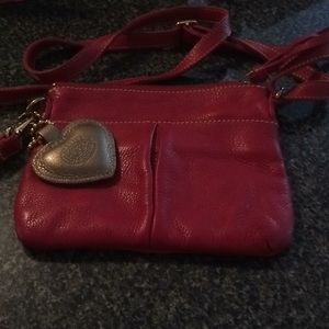 Roots crossbody red leather bag